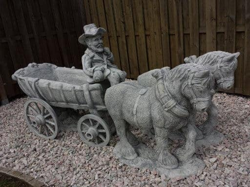 Paard En Wagen Beton.Paard Kar Tuinbeelden Brievenbussen En Polyester